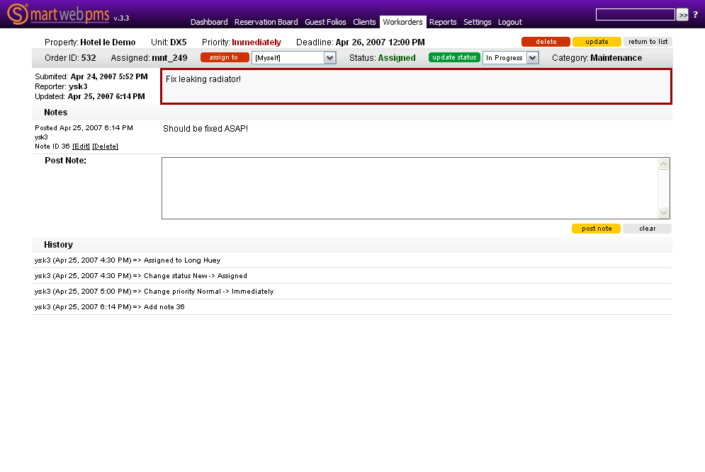 Features of web-based property management system: reservation board